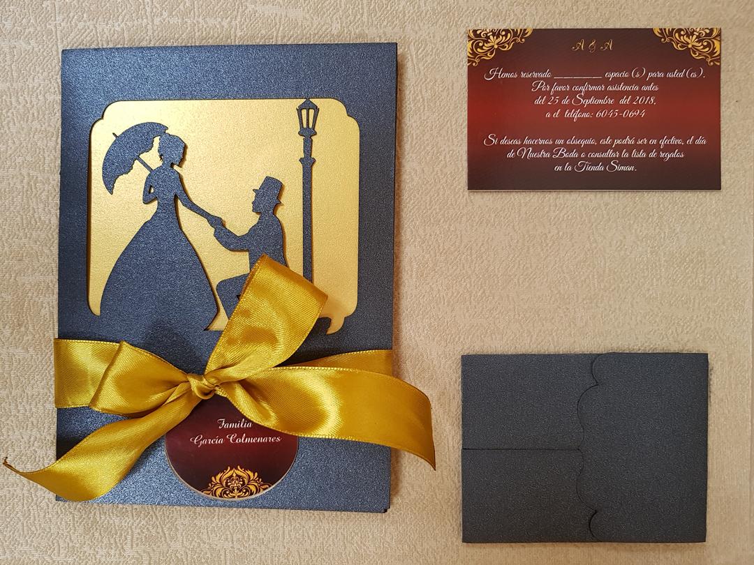 invitación de boda modelo silueta