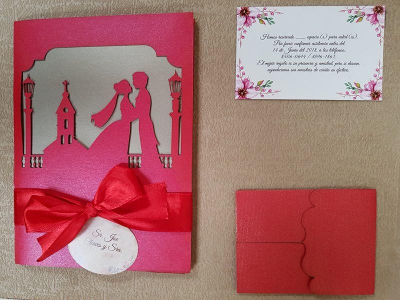 Invitación de bodas modelo silueta