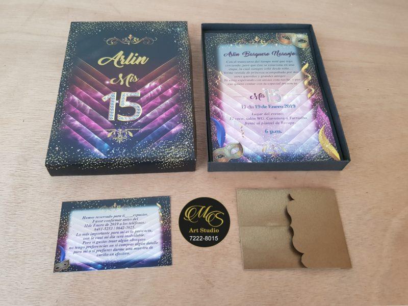 Invitación para 15 años en caja