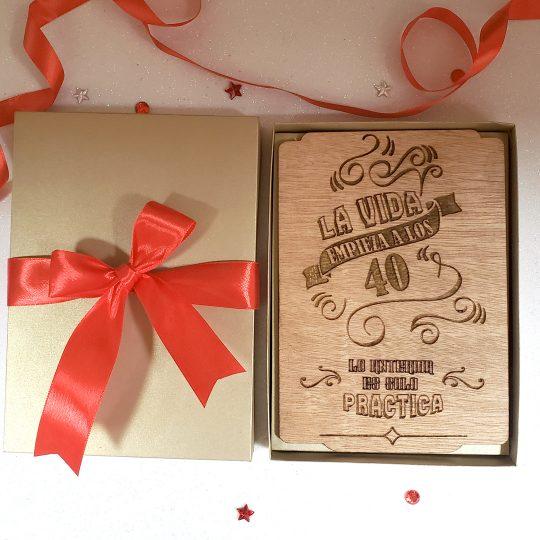 Tarjeta de Cumpleaños en madera. Grabada con Láser