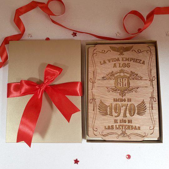 Tarjeta Cumpleaños Madera Grabado Laser