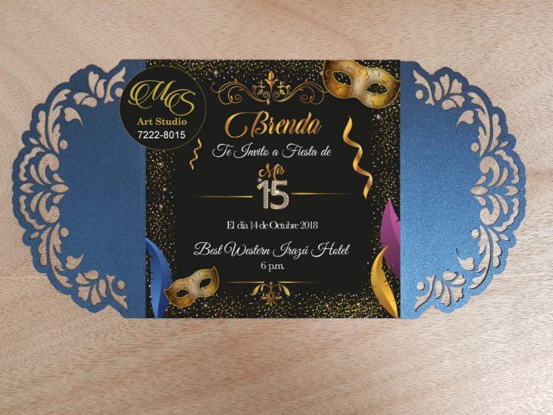 Invitación Láser para 15 años. Color Lapiz Azuli