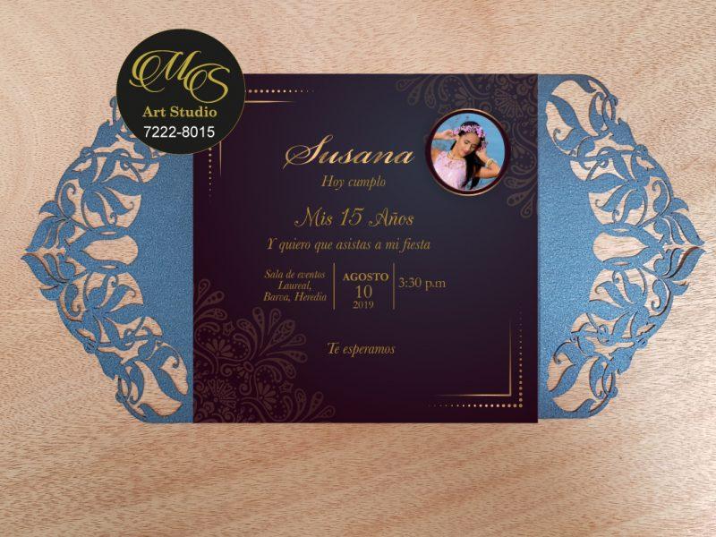 Invitación Láser para 15 años. LapizAzuli