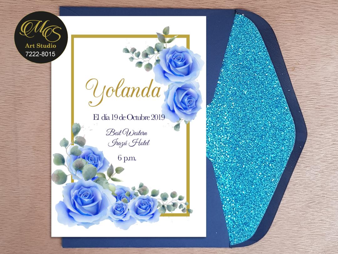 Invitación para 15 años Sobre Lord Glitter. Color azul