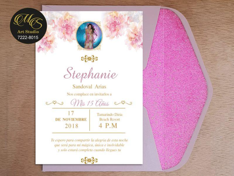 Invitación para 15 años Sobre Lord Glitter. Color palo rosa