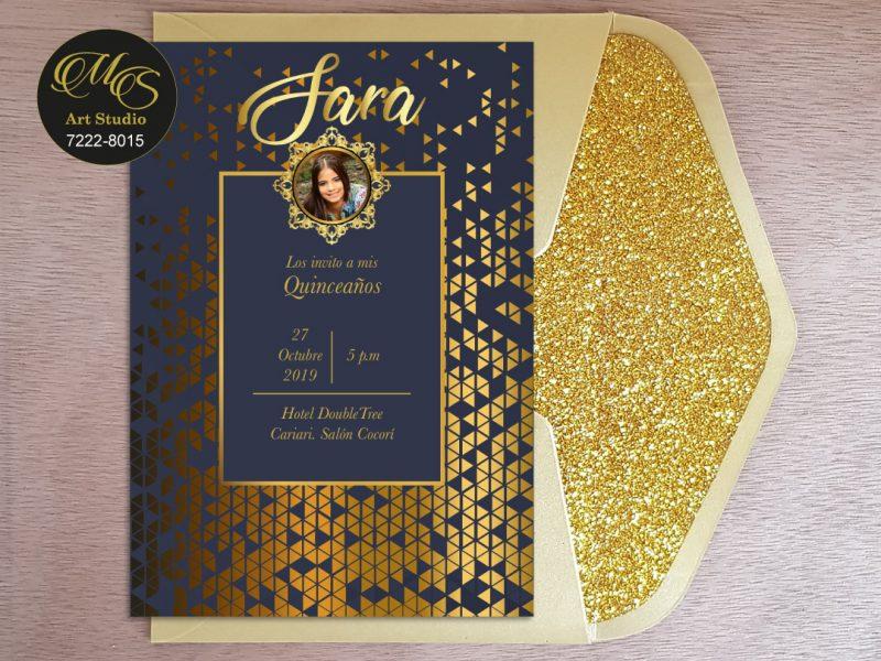 Invitación para 15 años Sobre Lord Glitter. Color dorado