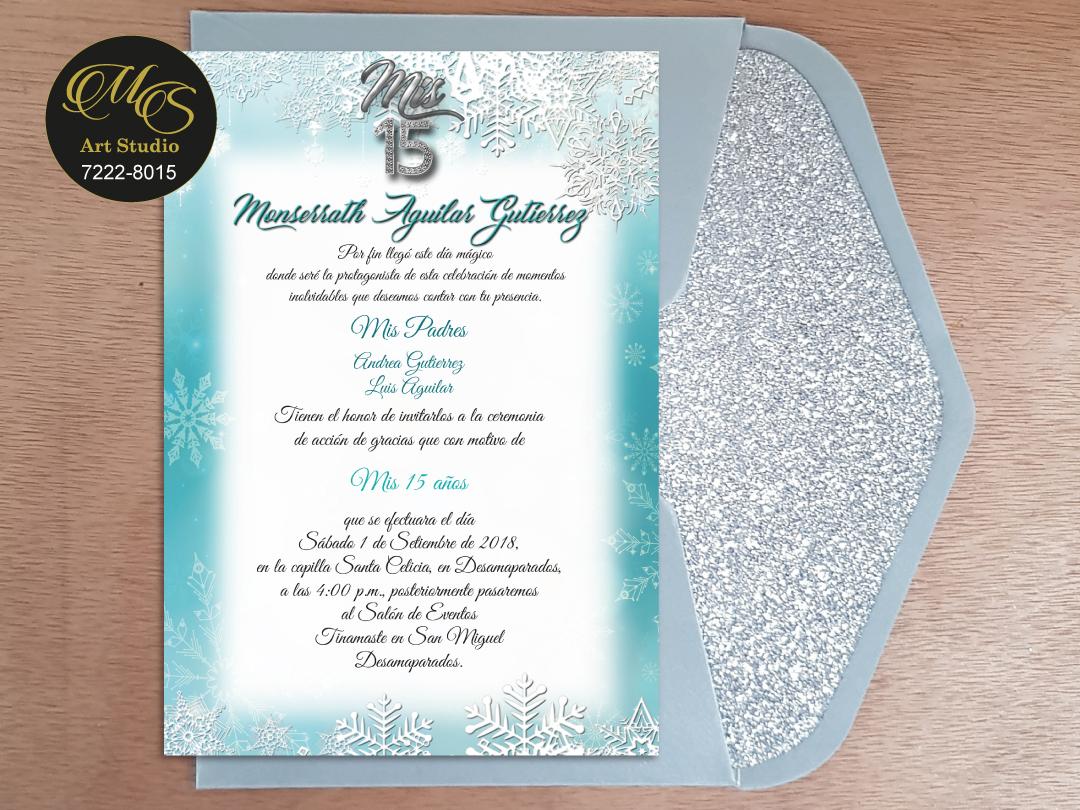 Invitación para 15 años Sobre Lord Glitter. Color plata