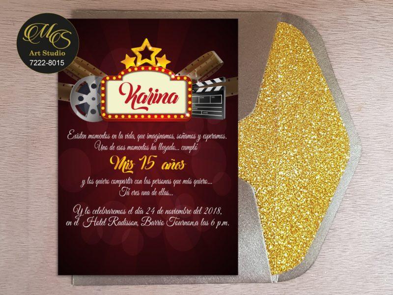 Invitación para 15 años Sobre Lord Glitter. Color bronce