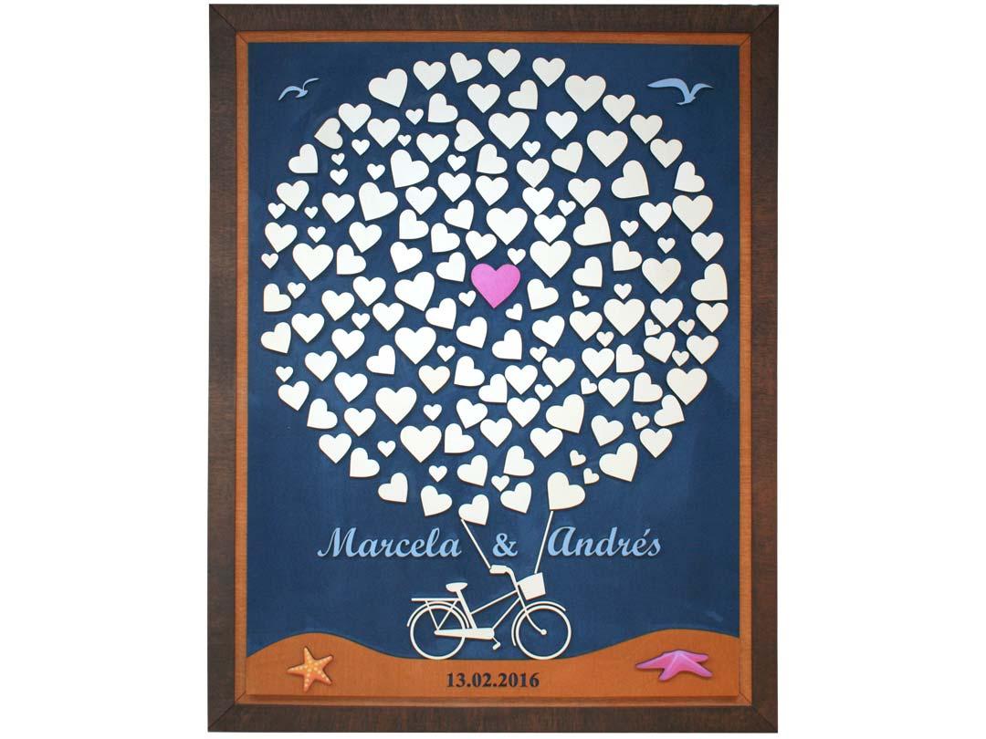 Cuadro para firmas y mensajes de boda modelo Sara, con lienzo en tela azul.Detalles azul celeste. tema marino.