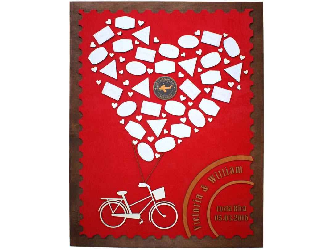 Cuadro para firmas y mensajes de boda modelo Sara, con lienzo en tela roja. Detalles en madera miel. Sello.
