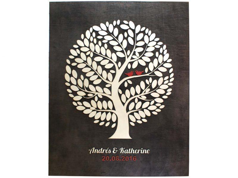 Cuadro para firmas y mensajes de boda modelo Yuri con lienzo en madera tono negro y detalles decorativos en rojo y blanco.