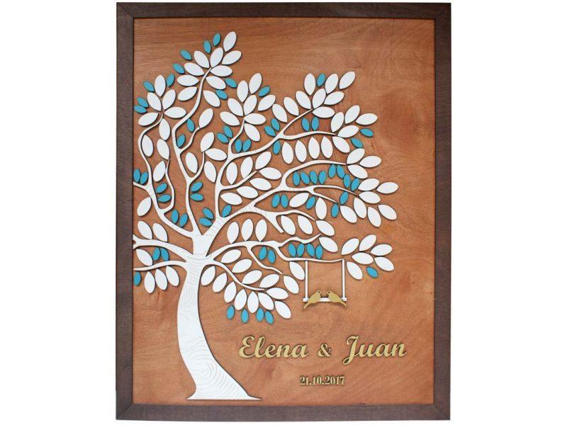 Cuadro para firmas y mensajes de boda modelo Melissa con lienzo en madera tono miel y marco en genizaro. Detalles decorativos en dorado y turquesa.
