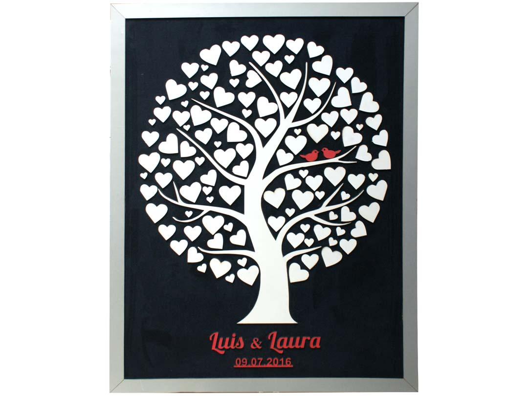 Cuadro para firmas y mensajes de boda modelo Silvia. Lienzo en tela negra y marco platal. Detalles en rojo.