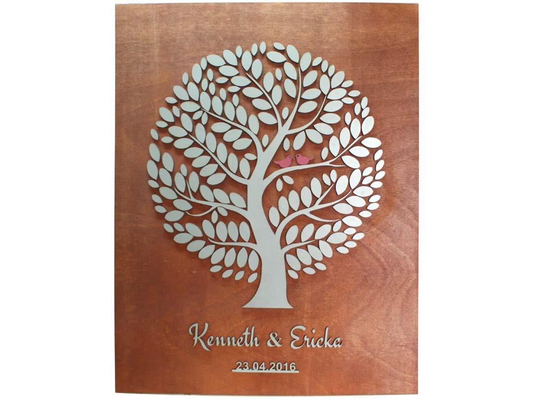Cuadro para firmas y mensajes de boda modelo Yuri con lienzo en madera tono cristobal y detalles decorativos en dorado y rojo.