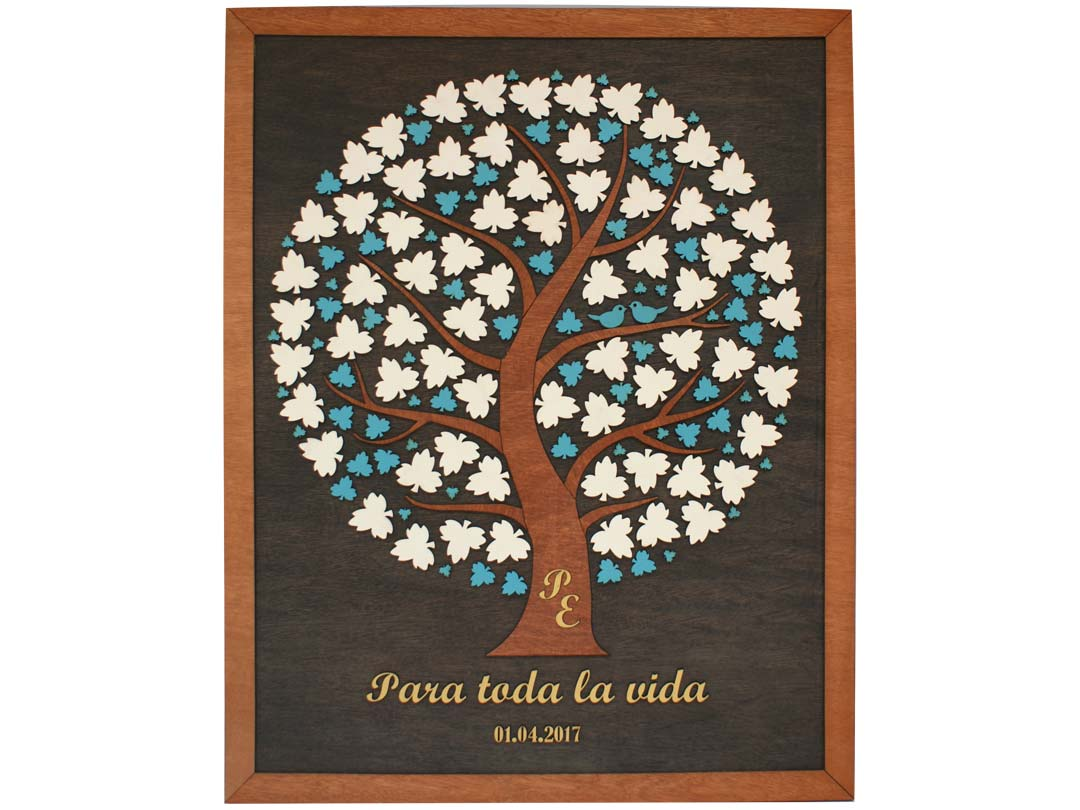 Cuadro para firmas y mensajes de boda modelo Adri. Lienzo en madera tinta nogal y marco miel. Detalles dorados y celestes. Iniciales incrustadas.