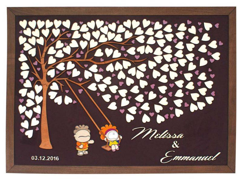 Cuadro para firmas y mensajes de boda modelo Brisas con lienzo en tela morado y marco en cenizaro. Detalles decorativos en blanco. Siluetas a full color.
