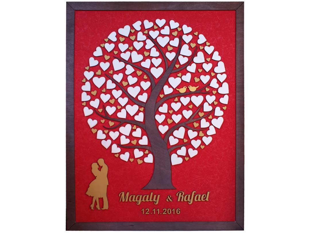 Cuadro para firmas y mensajes de boda modelo Silvia. Lienzo tela rojal y marco nogal. Detalles en dorado.