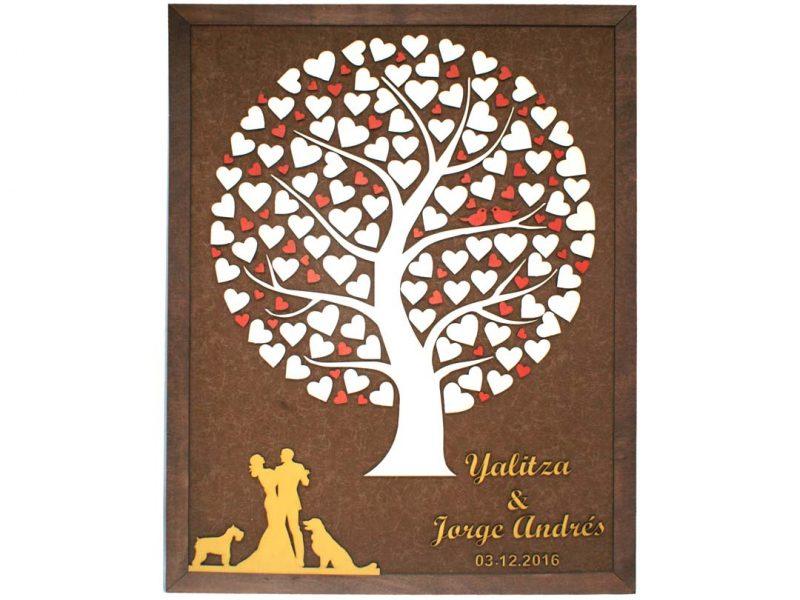 Cuadro para firmas y mensajes de boda modelo Silvia. Lienzo en tela marron y marco nogal. Detalles en dorado y rojo.