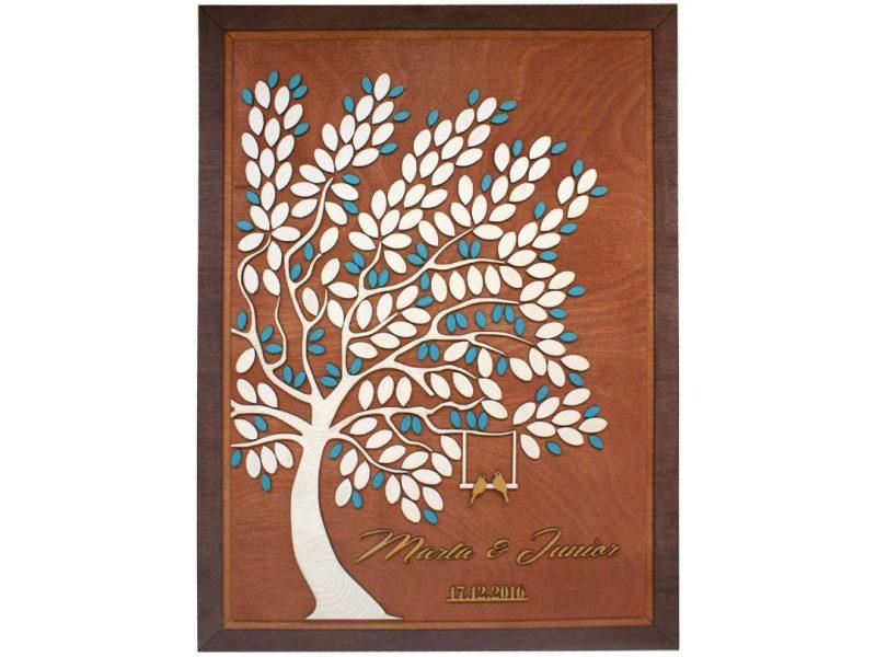 Cuadro para firmas y mensajes de boda modelo Melissa con lienzo en madera tono cristobal y marco en nogal. Detalles decorativos en dorado y turquesa. Tronco en blanco