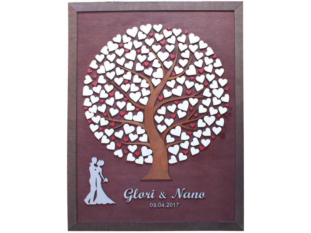 Cuadro para firmas y mensajes de boda modelo Silvia. Lienzo madera caoba y marco nogal. Detalles en plata y rojo.