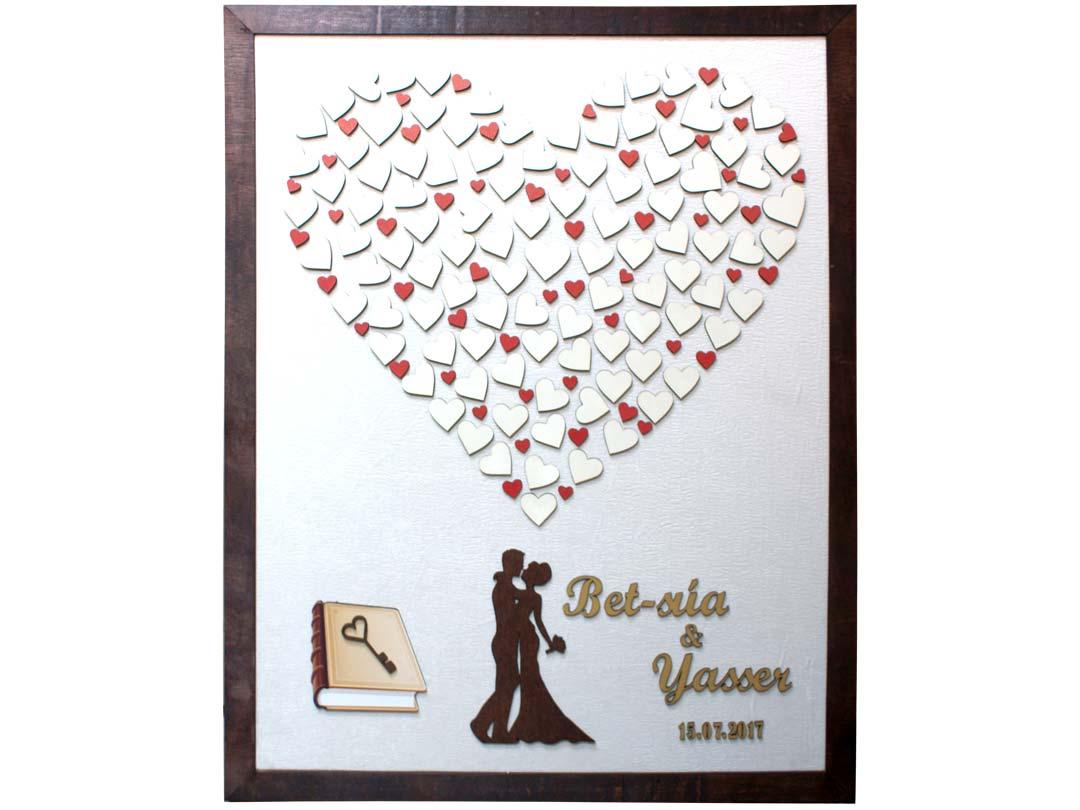 Cuadro para firmas y mensajes de boda modelo Sara, con lienzo en tela beige y detalles decorativos en dorado y rojo.