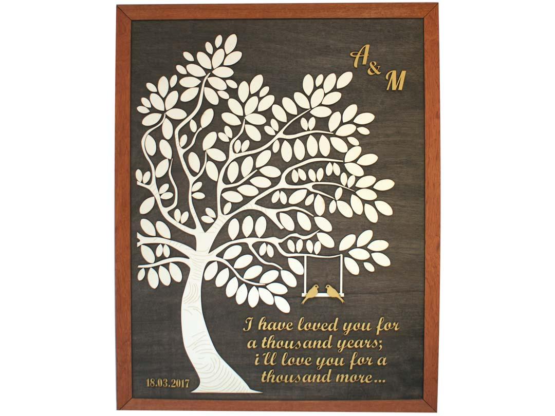 Cuadro para firmas y mensajes de boda modelo Melissa con lienzo en madera tono nogal y marco en miel. Detalles decorativos en dorado.