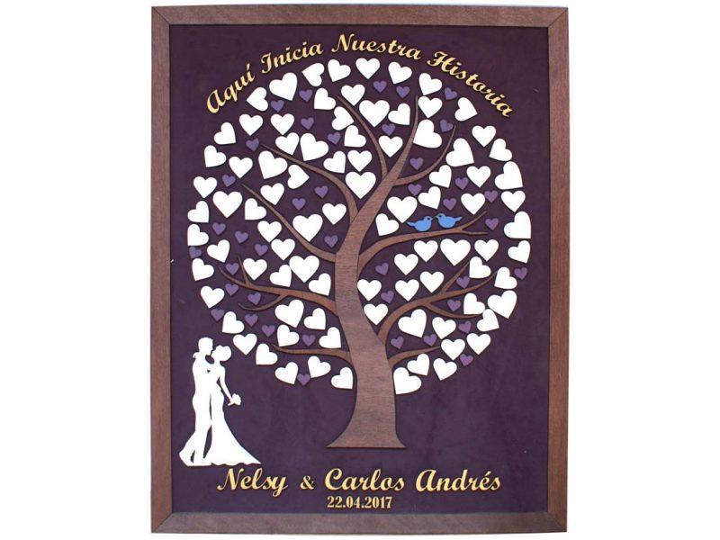 Cuadro para firmas y mensajes de boda modelo Silvia. Lienzo tela morada y marco nogal. Detalles en azalea y dorado