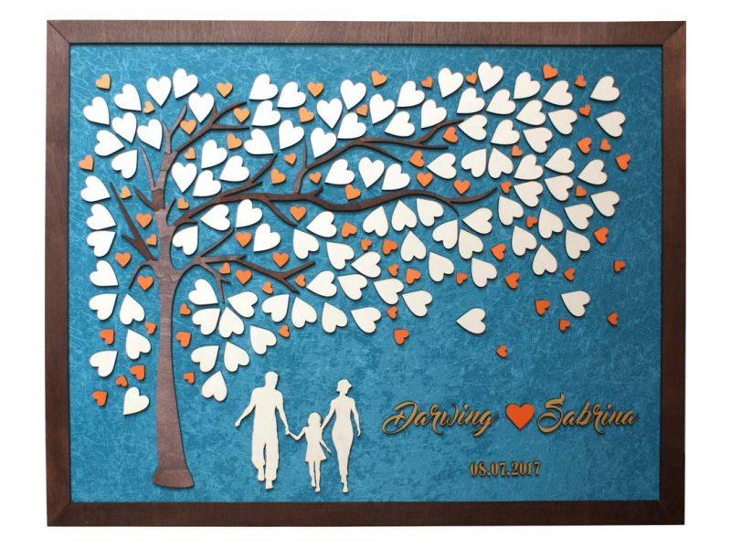 Cuadro para firmas y mensajes de boda modelo Brisas con lienzo en tela turquesa y marco en cenizaro. Detalles decorativos en dorado y naranja.