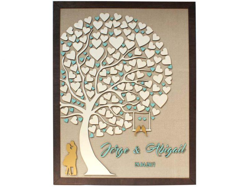 Cuadro para firmas y mensajes de boda modelo Abigail con lienzo en madera tela beige y marco nogal. Detalles en menta y dorado.
