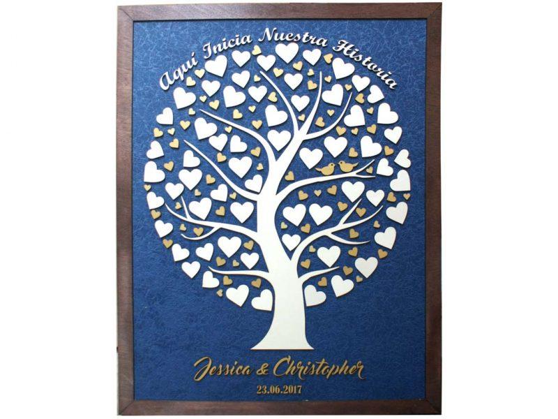 Cuadro para firmas y mensajes de boda modelo Silvia. Lienzo tela azul y marco nogal. Detalles en dorado.
