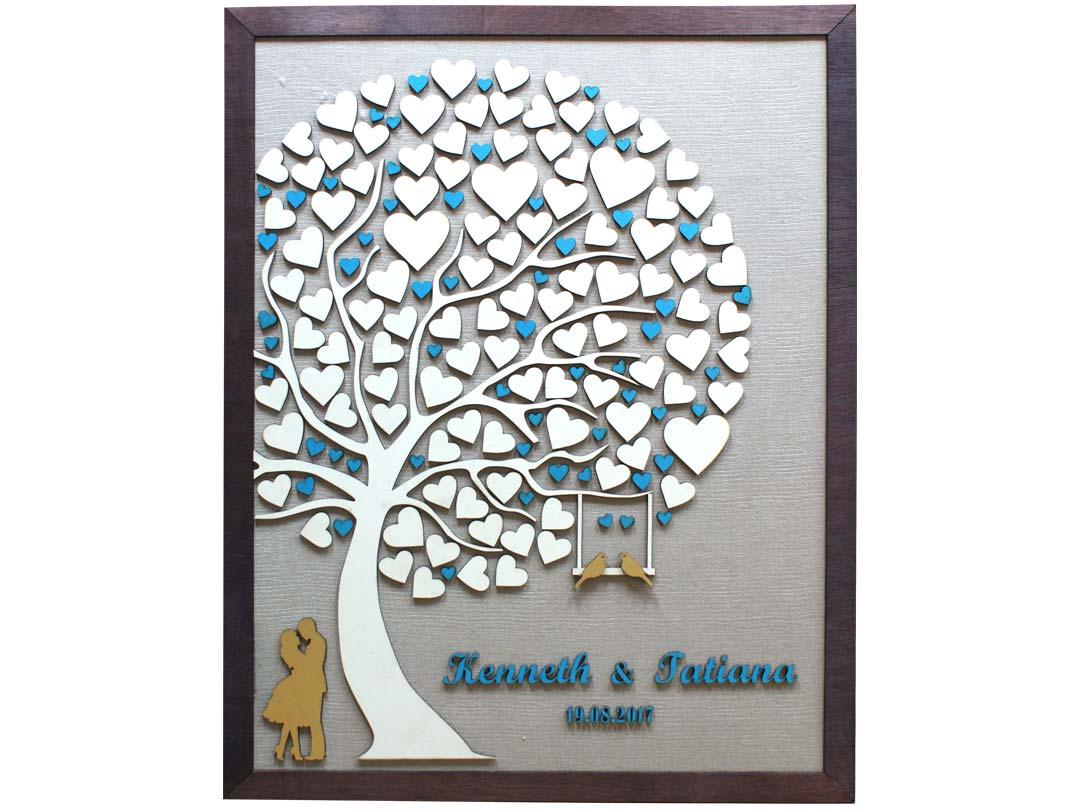 Cuadro para firmas y mensajes de boda modelo Abigail con lienzo en madera tela beige y marco nogal. Detalles en turquesa y dorado.