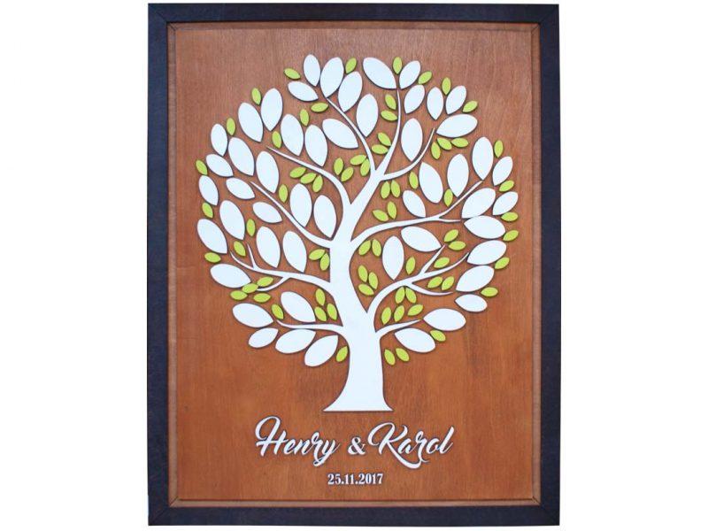 Cuadro para firmas y mensajes de boda modelo Yuri con lienzo en madera tono cristóbal y detalles decorativos en blanco y verde limón.