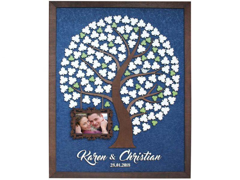Cuadro para firmas y mensajes de boda modelo Adri. Lienzo en tela azul y marco nogal. Detalles en verde. Porta retrato.