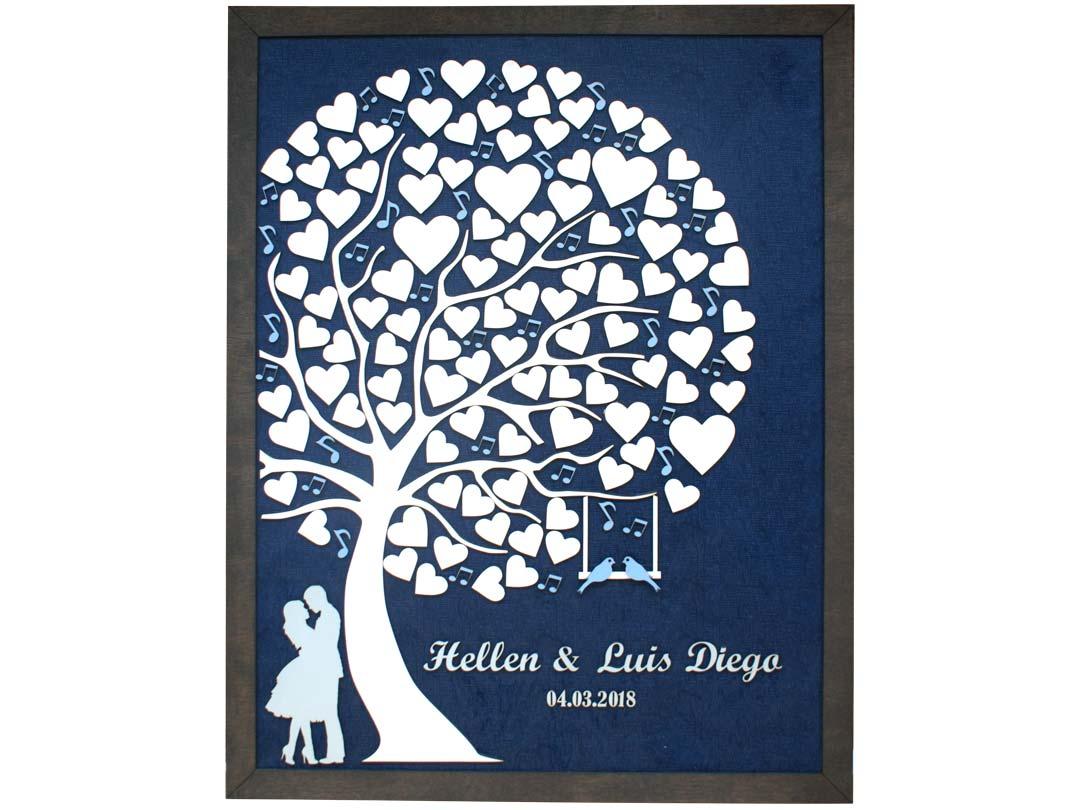 Cuadro para firmas y mensajes de boda modelo Abigail con lienzo en madera tela azul y marco nogal. Detalles en azul celeste.