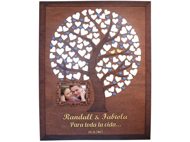 Cuadro para firmas y mensajes de boda modelo Silvia. Lienzo madera cenizaro y marco nogal. Detalles en azul y dorado. Porta retratos.
