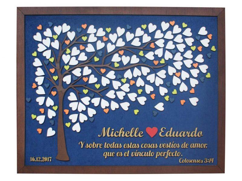 Cuadro para firmas y mensajes de boda modelo Brisas con lienzo tela azul y marco en nogal. Detalles decorativos en dorado y rojo.