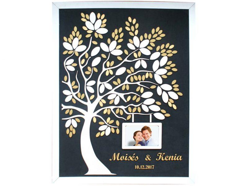Cuadro para firmas y mensajes de boda modelo Melissa con lienzo en tela negra y marco blanco. Detalles en dorado. Porta retrato.