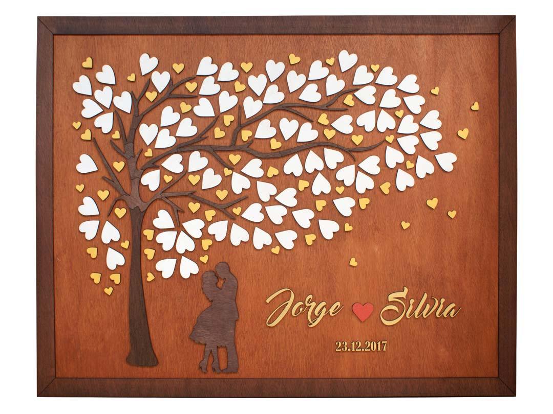 Cuadro para firmas y mensajes de boda modelo Brisas con lienzo en madera tono cristobal y marco en cenizaro. Detalles decorativos en dorado y rojo.