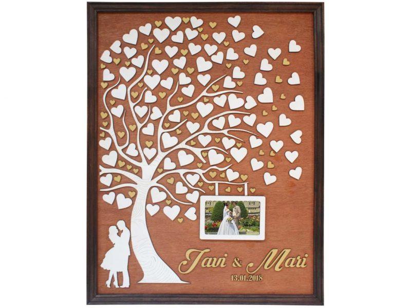 Cuadro para firmas y mensajes de boda modelo Abigail con lienzo en madera tono cristobal y marco en nogal. Detalles decorativos en dorado. Porta retrato.