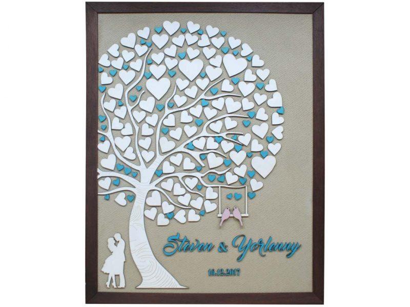 Cuadro para firmas y mensajes de boda modelo Abigail con lienzo en madera tela beige y marco nogal. Detalles en turquesa.