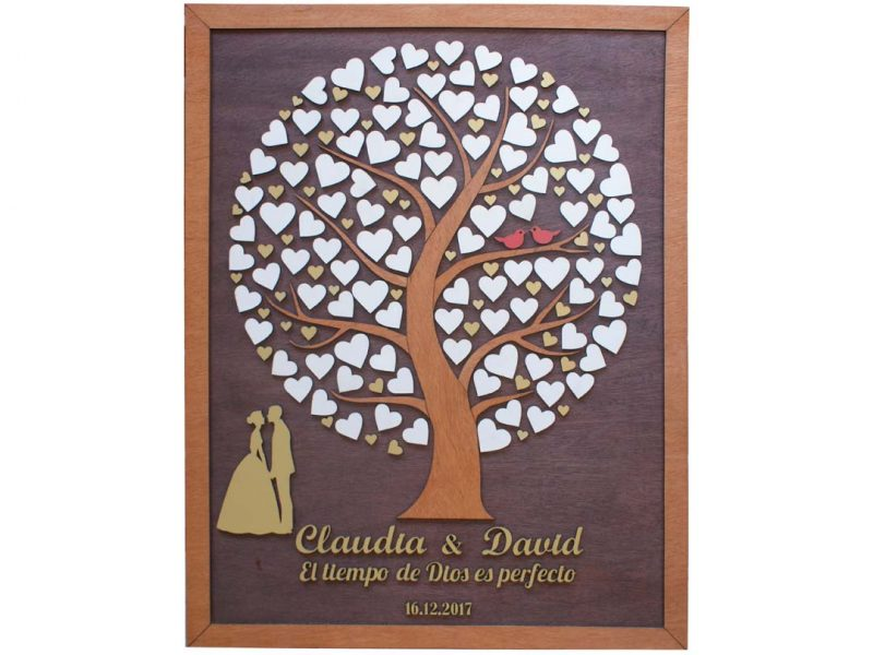Cuadro para firmas y mensajes de boda modelo Silvia. Lienzo madera nogal y marco miel. Detalles en dorado.