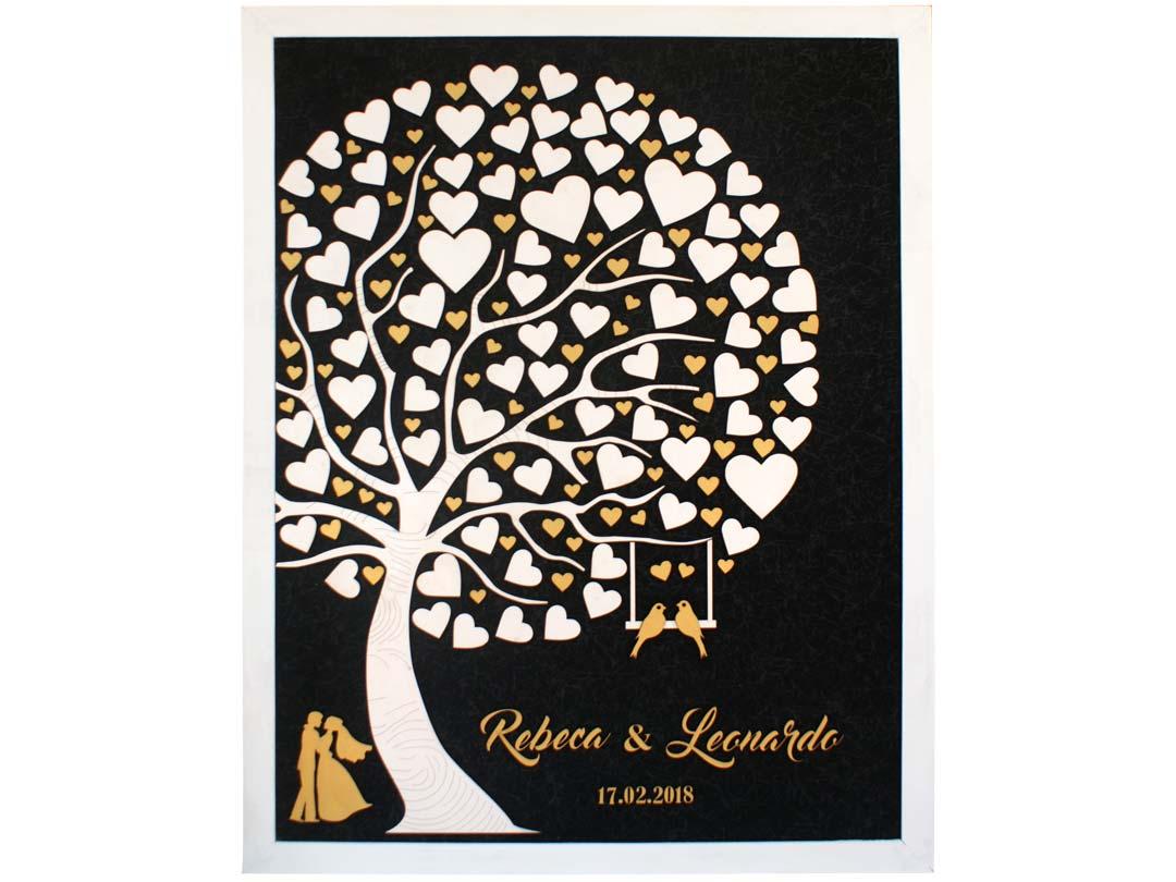 Cuadro para firmas y mensajes de boda modelo Abigail con lienzo en madera tela negra y marco en blanco, Detalles decorativos en dorado.