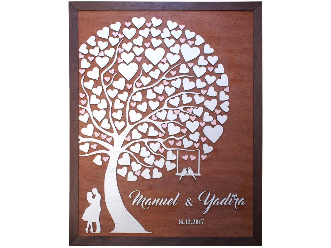 Cuadro para firmas y mensajes de boda modelo Abigail con lienzo en madera tono cristobal y marco en nogal. Detalles decorativos en rosado.