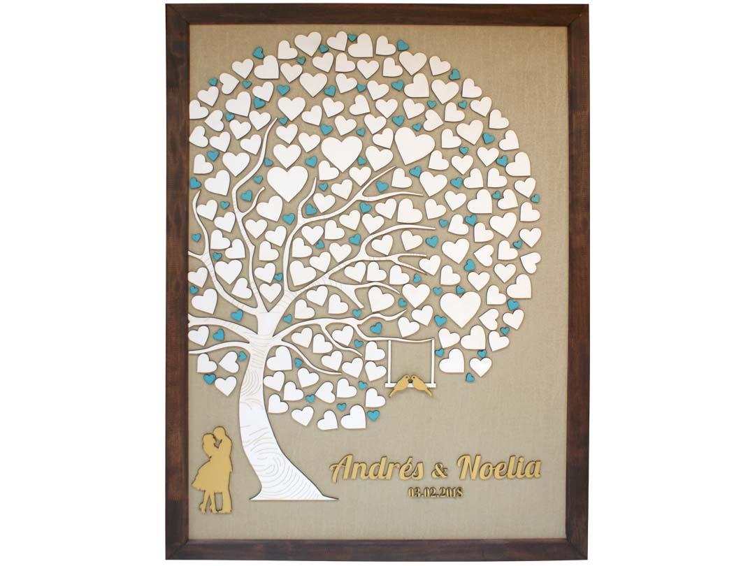 Cuadro para firmas y mensajes de boda modelo Abigail con lienzo en tela beige y marco en nogal, Detalles decorativos en dorado y turquesa.