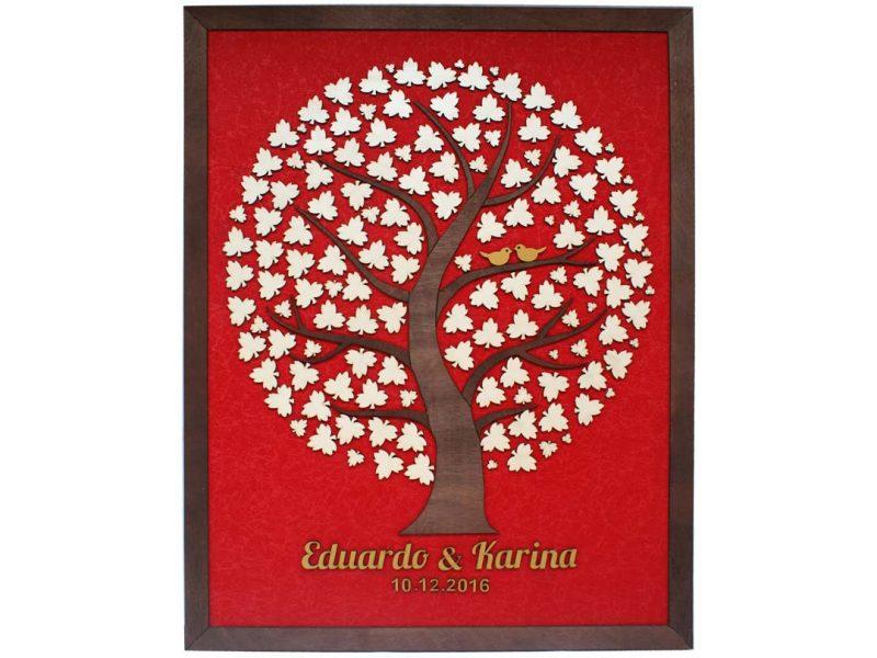 Cuadro para firmas y mensajes de boda modelo Adri. Lienzo en tela roja y marco nogal. Detalles en dorado.